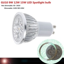 Super Bright Dimmable GU10 LED Bulb Spot Light Lamp 110V 220V 9W 12W 15W  Warm/Cold White  45 Beam Angle (China (Mainland))