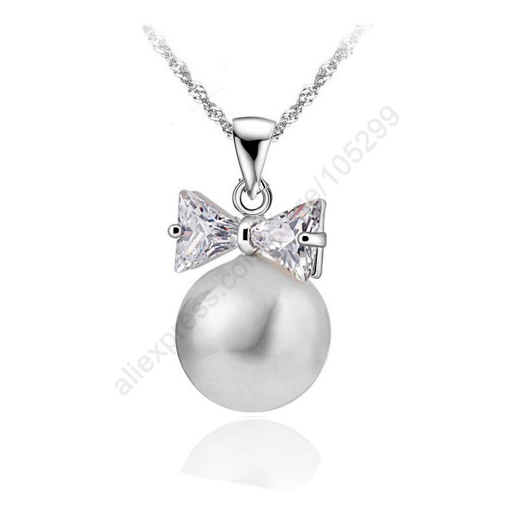 Wholesale Fashion 5pcs lot 925 Sterling Silver White Bow Tie Crystal Pearl Pendant Necklaces 18 925