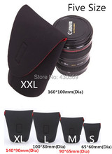 5 pcs Five Size Waterproof Black And Red Soft Camera Len Pouch Bag Case XXL XL L M S(China (Mainland))