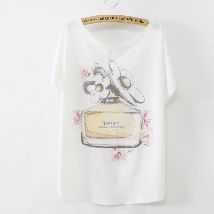 [Magic] Hot tshirts for women short batwing sleeve cotton t-shirt women's casual loose tees Perfume bottles print B07/B63 free(China (Mainland))