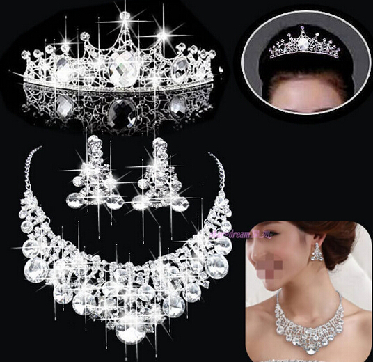 2015 Cheap Sale Rhinestone Jewelry sets Silver Plated Unique Wedding Jewelry Set Bridal Tiara Necklace Earrings(China (Mainland))