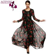 ACEVOG Autumn Dress Fashion Women Ladies Tunic Maxi Long Chiffon Dress Long Sleeve Floral Rose Dress Plus Size S-XXXL Vestidos(China (Mainland))