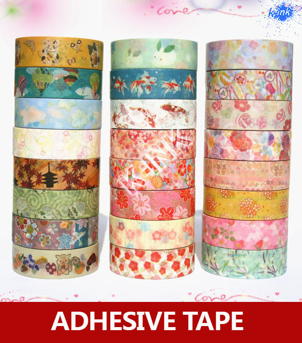24 different color DIY decoration washi paper tape , Japanese floral / flower style washi scrapbooking tape , wholesale(China (Mainland))