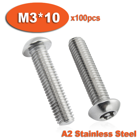 100pcs ISO7380 M3 x 10 A2 Stainless Steel Torx Button Head Tamper Proof Security Screw Screws<br><br>Aliexpress