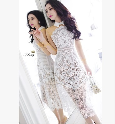 The new 2015 Portrait Self * white see-through lace long sleeve shirt collar long summer dress is free shipping(China (Mainland))