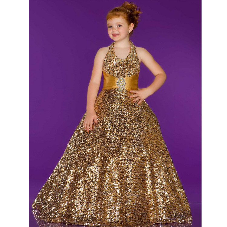 Pageant Dress Little Princess Glitz Ball Gown Gold Column Bateau Brush Train Fully Sequin Beading Prom Evening Girl