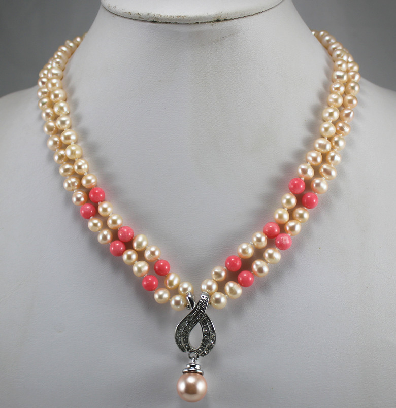 nice 2 rows 8mm mixed color yellow& red shell pearl necklace 14mm designed yellow sehll pearl pendant necklace best accessory ##(China (Mainland))