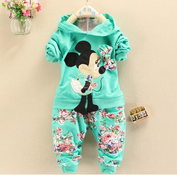 New spring autumn Girls Minnie Mouse Suit children's sports set baby girls boys clothing sets Hoodies coat+trousers Kids clothes(China (Mainland))