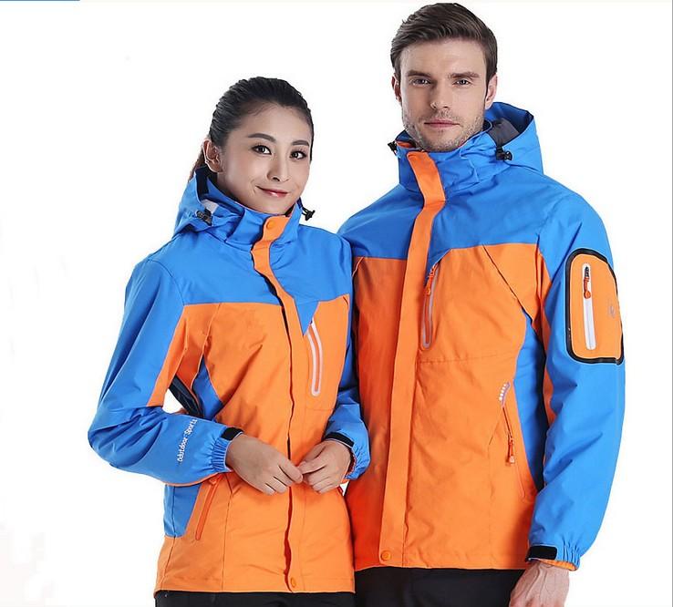 New men women thick detachable ourdoor jacket camping hiking hunting dress waterproof windproof thermal ski snowboard jackets(China (Mainland))