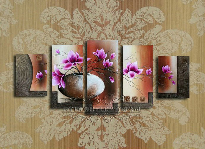 oil painting on canvas purple flower wall art modern art home decoration abstract 5pcs/set decoration home modern F/753(China (Mainland))