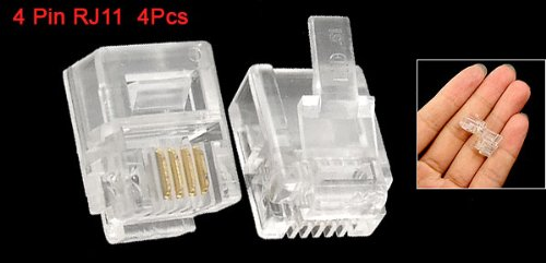 4 Pcs 6P4C 4 Pin RJ11 Telephone Jack Connector Clear Wonderful Gift(China (Mainland))