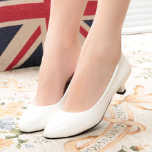 High Heels 4CM slip-on pointed round toe women pumps leisure white nurse shoes Party/Wedding/Work sexy ladies single shoes 105
