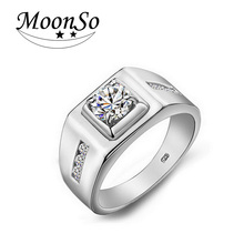 925 Real Sterling Silver rings for men CZ Diamond wedding engagement mens fashion finger jewelry moonso T0303(China (Mainland))