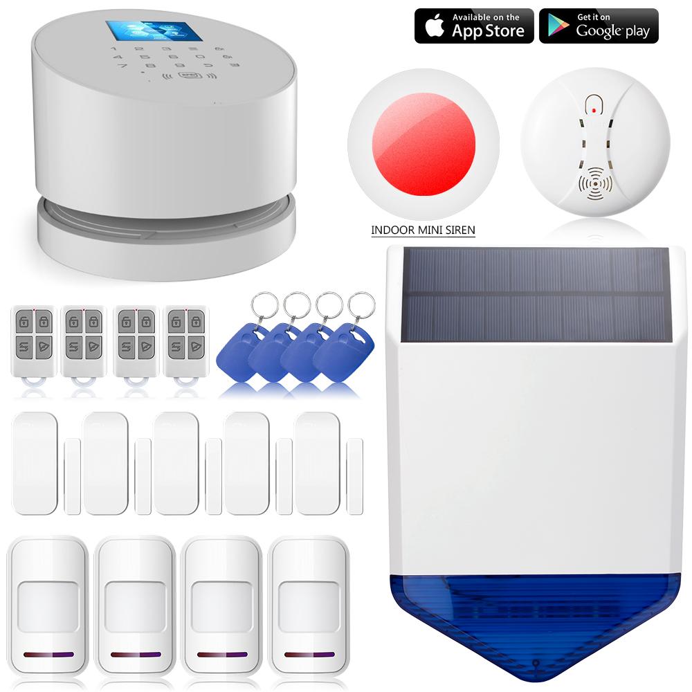 Solar Outdoor Strobe Siren WiFi LCD RFID alarm system Wireless W2 Wifi GSM PSTN line telephone burglar alarm <br><br>Aliexpress