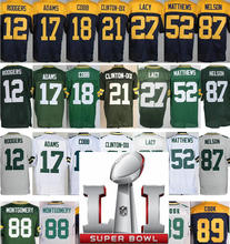 2017 Mens 12 Aaron Rodgers 17 Davante Adams 18 Randall Cobb 87 Jordy Nelson 52 Clay Matthews 88 Ty Montgomery(China (Mainland))