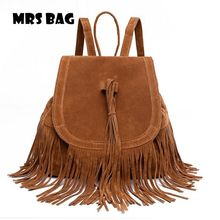 Vintage Suede Leather military backpack women's backpack school bags hiking backpack bagpack Fashion Tassels Bags 16061807(China (Mainland))