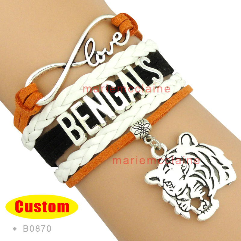 (10 Pieces/Lot) High Quality Infinity Love NFL Cincinnati Bengals Football Bracelet Black Orange White Custom Any Styles/Themes(China (Mainland))