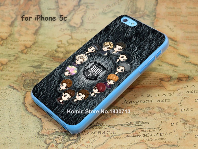 EXO kpop Pattern hard transparent clear Cover Case for iPhone 4 4s 5 5s 5c 6 6s 6 Plus