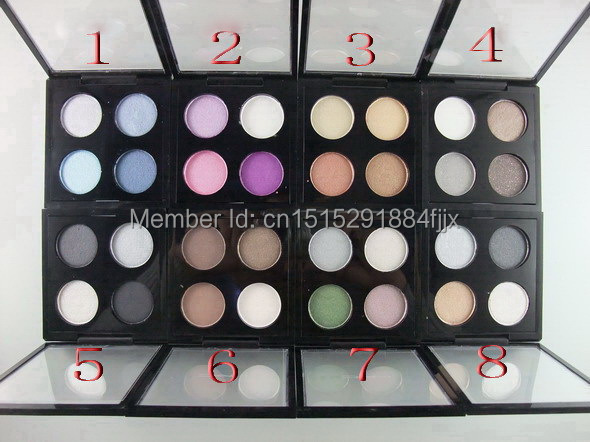 new hot sell makeup MC 4 COLORS EYE SHADOW X 4 FARD A PAUPIERES X 4 eyeshadow Pigment 8 different color(8PCS/LOT)(China (Mainland))