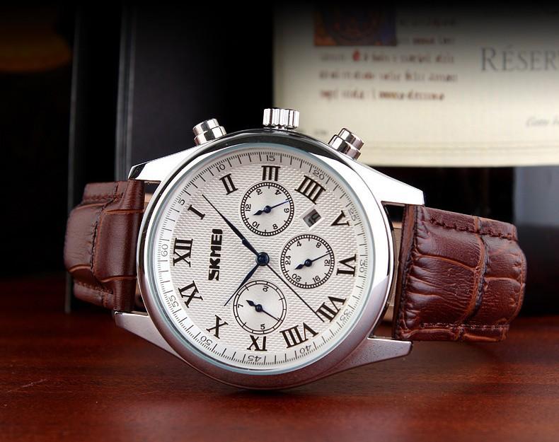 Бизнес мужские Часы Повседневная Мода Календарь Двойной Время Дата Неделя дисплей Кожаный Ремешок Кварцевые Часы Водонепроницаемые Наручные Часы