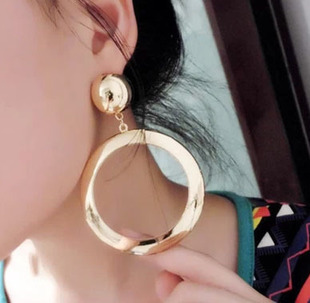 Fashion big gold earring large round metal earrings punk jewelry women Free shipping(China (Mainland))