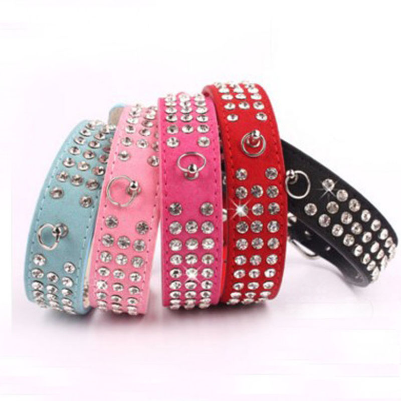 Bling Rhinestone Velvet Suede Leather Pet Dog Collar 1Inch Wide Pink Blue Black Red Rose Drop Shipping(China (Mainland))