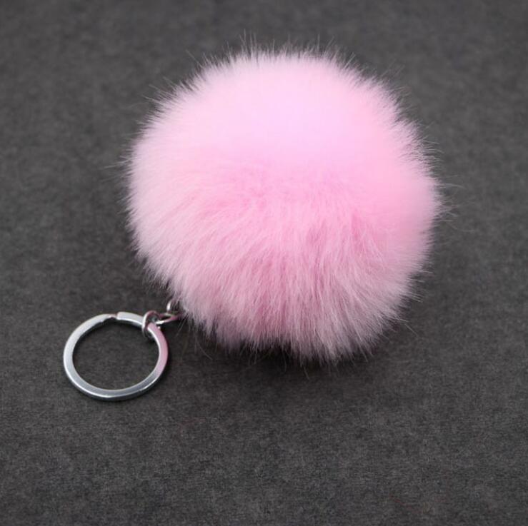 Fur Pom Pom Keychain Fake Rabbit fur ball key chain C porte clef pompom de fourrure pompon Bag Charms bunny keychain Keyring(China (Mainland))