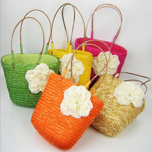 New Fashion Japanese Style Woman Candy Color Flower Shoulder Bags Hand Crochet Straw Beach Bag Free Shipping 52211(China (Mainland))