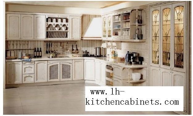 rural solid wood horizontal kitchen cabinets(LH-SW046)(China (Mainland))