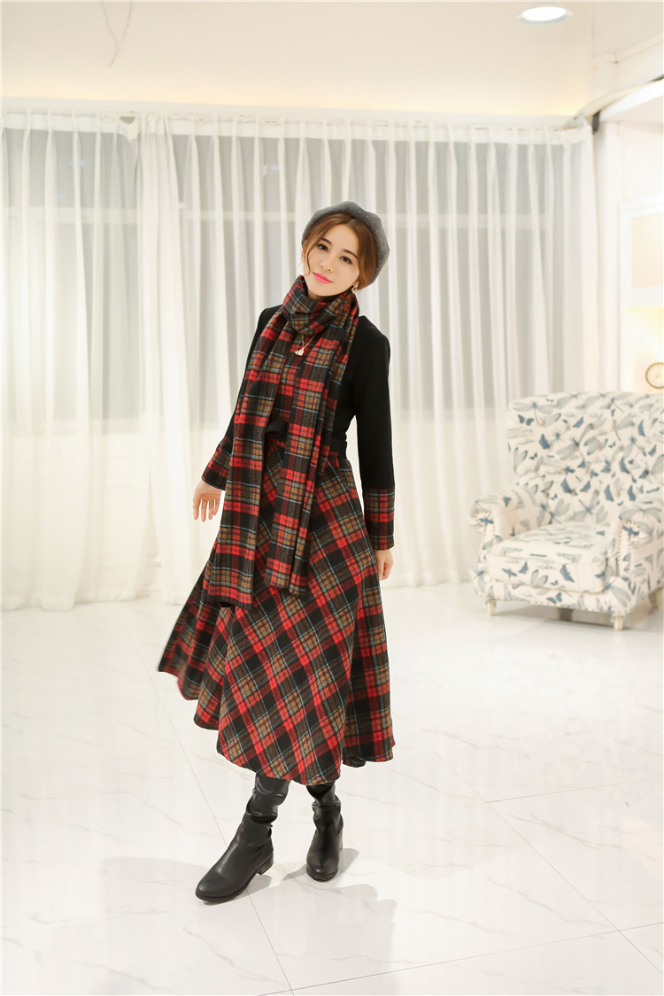 women dress winter dress Slim new winter long section of stitching woolen Scottish font b tartan