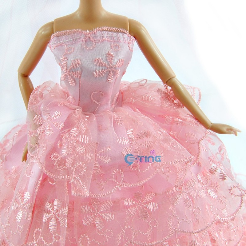 E-TING Garments for Dolls Lovely Royalty Princess Wedding ceremony Costume Garments Robe With Veil For Barbie Garments for Dolls