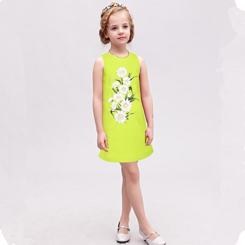 Baby Girl Dress 2016 Brand Summer Dress Kids Costume With sunflower embroidery  Wedding Dress Girl Vetement <br><br>Aliexpress