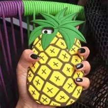 3D Pineapple Soft Silicone Case for iPhone 6 Plus 6S Plus Fashion Drop Resistance Rubber Phone Cover Novelty Personality Shell