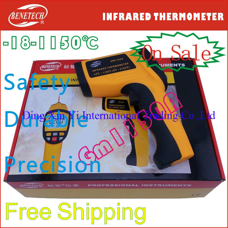 Benetech Brand GM1150A portable mini infrared thermometer gun -18~1150 degree spot laser sight