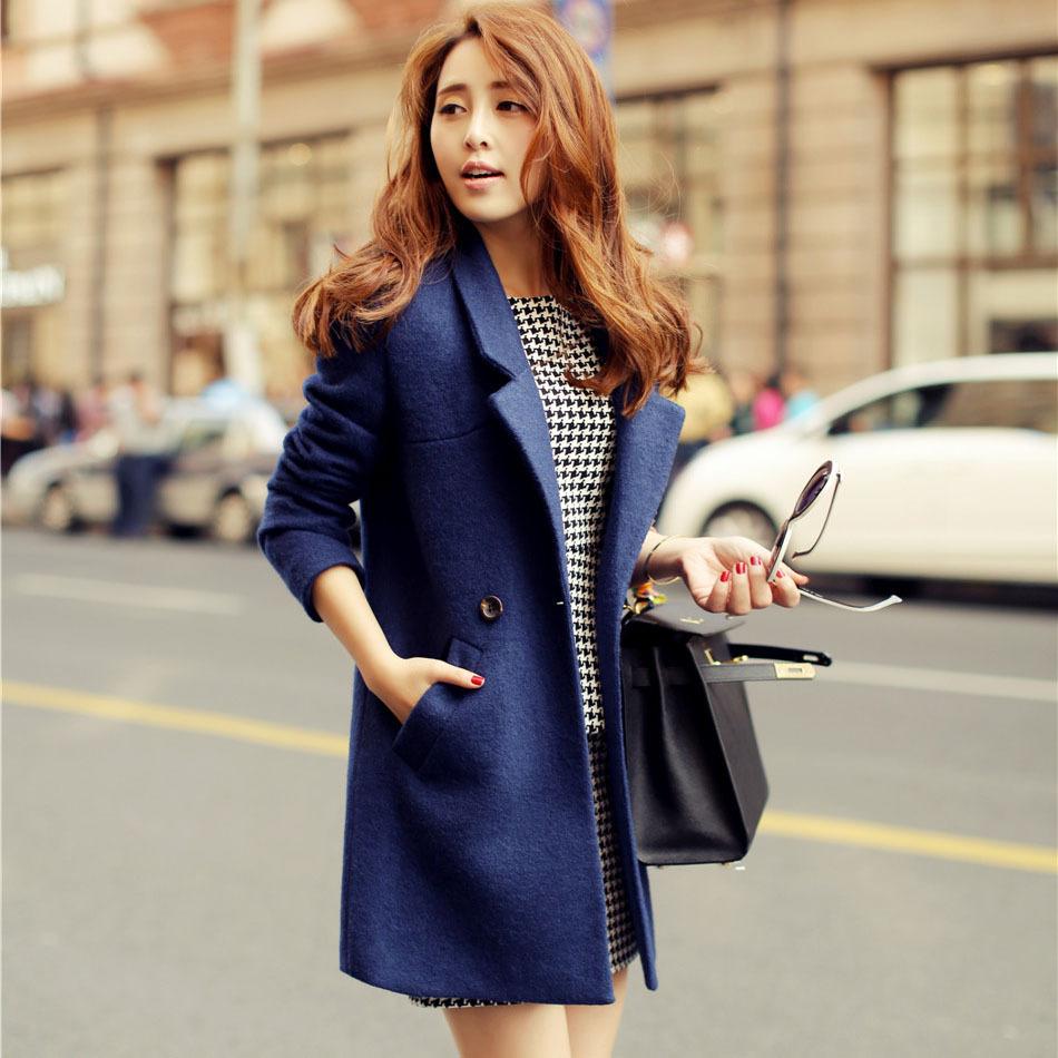 casacos femininos New 2015 Women Coat Winter Autumn Blue Wool Coat Long Brand Desigual Woolen Coat Female Overcoat Lady Outwear(China (Mainland))