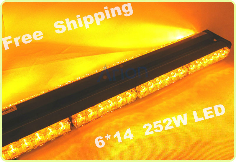 New Arrival Double Side 6*14 84LED Car Truck Roof Flashing Beacon Emergency Strobe LightBar Lamp Warning Light Dash Grille Amber(China (Mainland))
