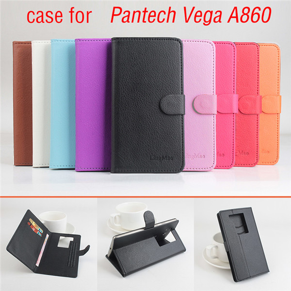 9 Color Litchi Texture Luxury Pantech Vega A860 Case,Flip Leather Case Cover For Pantech Sky Vega A860 With Stand Card Slots(China (Mainland))