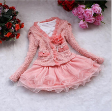 Hot Selling Spring Autumn Long Sleeved Dress+Coat Fashion Children Clothing Girls Floral Dress Suit Kids Princess Lace 2Pcs Sets