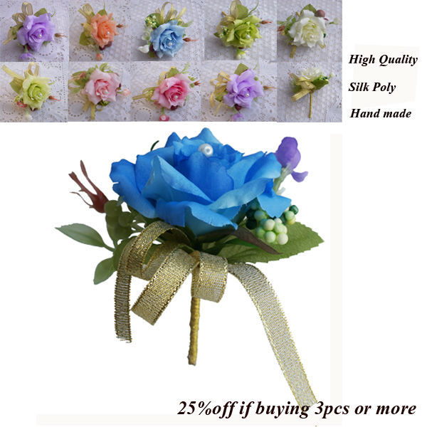 Silk  Wedding Corsage&boutonniere  for  Groom or Groomsmen , Artificial Rose Bud , Decorative Flowers Corsage For Men Prom(China (Mainland))