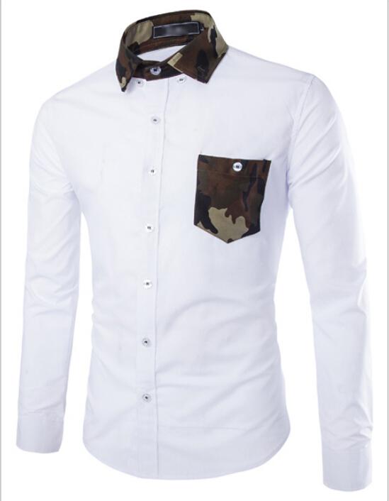 2015 brand mens dress shirts men double collar slim fit