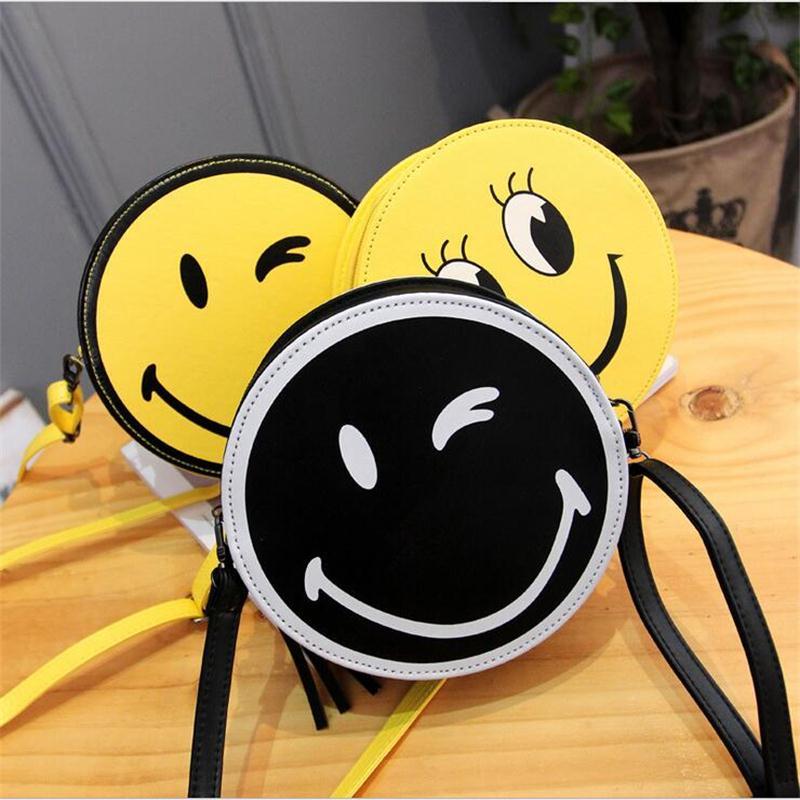 2016 New Design Cute Bag Smile Face Circular Bag Fashion Women Messenger Bag Shoulder Bag Small Purse mini handbag(China (Mainland))