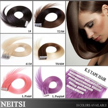 "Neitsi 20"" 50g 100g 5A Tape In Remy Skin Weft Ombre Human Hair Extensions 100% Russian Virgin Remy Human Hair Straight 14 Colors(China (Mainland))"