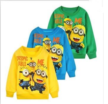 Free Shipping 2015 New Baby Boys Girl Cartoon Design Round Minion Collar Fleece Children Wear T-Shirts Children's Clothes(China (Mainland))