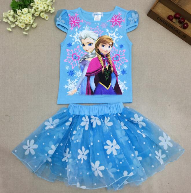 New girls summer princess Elsa Anna t-shirt+tutu skirts suits kids cartoon snow queen clothing set baby lovely casual clothes(China (Mainland))