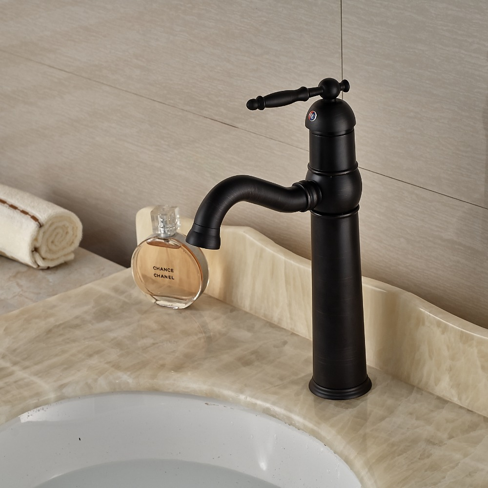 Фотография Oil Rubbed Bronze Bathroom Sink Mixer Faucet Single Handle Basin Lavatory Mixer Taps One Hole