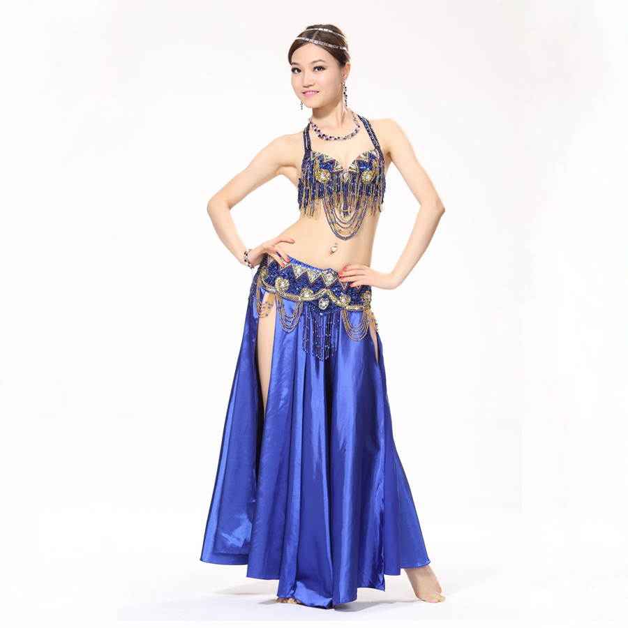 Stage Performance 11 Colors Belly Dance Costume Oriental Dance Beads Bra, Belt and Satin Long Skirt Women Bellydance Skirt(China (Mainland))