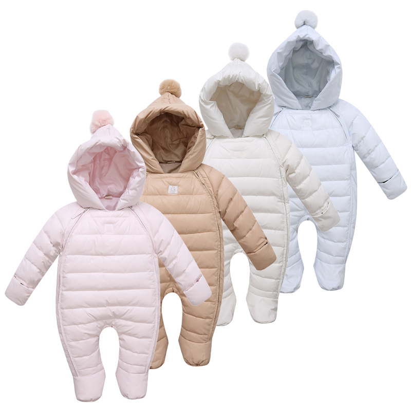 Baby Jumpsuit for Winter Kids Infant Down Cotton Romper for Newborns Toddlers Ski Suit with Footwear and Gloves Overalls(China (Mainland))