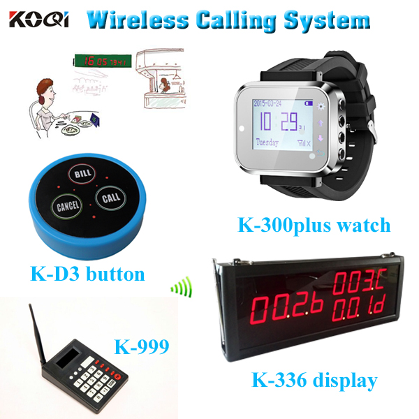 1 Set Wireless Watch Call Calling Waiter Server Paging Service System for Restaurant Tea House w Round Bell DHL free(China (Mainland))