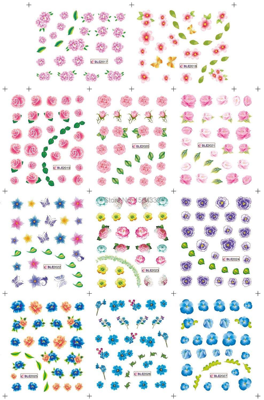 Nail Art 5 Sheets/Lot 11 Designs 3D water transfter Sticker Decals (MPT-P013)  -  REDBLUE Center store