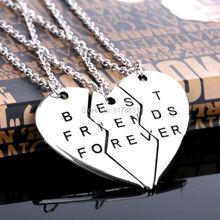 "A Set Fashion Friendship Jewelry Vintage Sliver Broken Heart Parts 3 "" Best Friends Forever "" Necklaces & Pendants For Women/Men(China (Mainland))"